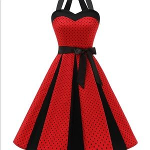 Lady Style 50's Swing Red Polka Dot Dress Small